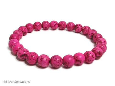 Hot Pink Howlite Turquoise Stretch Fashion Bracelet